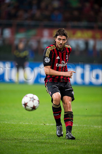 22.10.l2013. Milan, Italy. UEFA Champions League football. AC Milan versus FC Barcelona. Group stages. Riccardo Montolivo (Milan),  at Stadio Giuseppe Meazza in Milan, Italy.