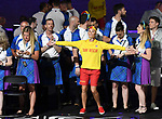 Life saver with team Scotland. Opening Ceremony. XXI Commonwealth games. Carrara Stadium. Gold Coast 2018. Queensland. Australia. 04/04/2018. ~ MANDATORY CREDIT Garry Bowden/SIPPA - NO UNAUTHORISED USE - +44 7837 394578