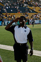 Jul 7, 2007; Hamilton, ON, CAN; Toronto Argonauts head coach Michael Pinball Clemons salutes hecklers prior to the Hamilton Tiger-Cats 2007 season home opener at Ivor Wynne Stadium. The Argos defeated the Tiger-Cats 30-5. Mandatory Credit: Ron Scheffler, Special to the Spectator.