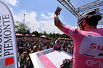 Race leader Maglia Rosa Tom Dumoulin (NED) Team Sunweb at sign on before the start of Stage 14 of the 100th edition of the Giro d'Italia 2017, running 131km from Castellania to Oropa, Italy. 20th May 2017.<br /> Picture: LaPresse/Gian Mattia D'Alberto | Cyclefile<br /> <br /> <br /> All photos usage must carry mandatory copyright credit (&copy; Cyclefile | LaPresse/Gian Mattia D'Alberto)