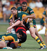 Joshua Rose of Wyong Roos challenges Ryan Griffiths of the North Sydney Bears during the first trail game of the 2013 NSW Cup season at Morrie Breen Oval on February 9, 2013 in Wyong, Australia. (Photo by Paul Barkley/LookPro)
