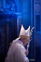 Pope Francis during  mass of Caritas Internationalis in St Peter's basilica Vatican.May 12, 2015