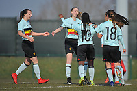20180221 - TUBIZE , BELGIUM : Belgian players celebrating their opening goal pictured during the friendly female soccer match between Women under 17 teams of  Belgium and Czech Republic , in Tubize , Belgium . Wednesday 21th February 2018 . PHOTO SPORTPIX.BE DIRK VUYLSTEKE