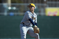 West Virginia Mountaineers starting pitcher Jake Carr (4) in action against the Illinois Fighting Illini at TicketReturn.com Field at Pelicans Ballpark on February 23, 2020 in Myrtle Beach, South Carolina. The Fighting Illini defeated the Mountaineers 2-1.  (Brian Westerholt/Four Seam Images)