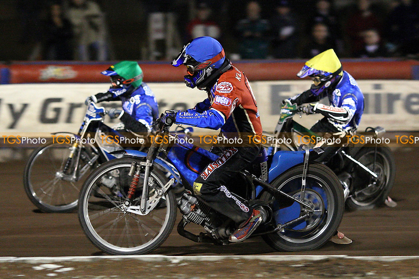 Heat 14: Ricky Kling (blue) battles it out with Karol Zabik (green) and Freddie Eriksson - Lakeside Hammers vs Poole Pirates - Spring Trophy 2nd Leg at Arena Essex Raceway - 14/03/08 - MANDATORY CREDIT: Gavin Ellis/TGSPHOTO. Self-Billing applies where appropriate. NO UNPAID USE. Tel: 0845 094 6026