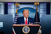 United States President Donald J. Trump speaks during a news conference in the James S. Brady Press Briefing Room at the White House, on Wednesday, September 16, 2020. <br /> Credit: Al Drago / Pool via CNP