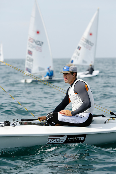 SANTANDER, SPAIN - SEPTEMBER 14:  Laser - USA194180 - Christopher BARNARD in action during Day 3 of the 2014 ISAF Sailing World Championships on September 14, 2014 in Santander, Spain.  (Photo by MickAnderson/SAILINGPIX via Getty Images)