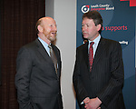 At the Launch of the County Louth Peace and Reconciliation Partnership Action plan 2008-2010 Institutional Sectarianism and Racism, in the Crowne Plaza Hotel Dundalk..Pictured  Anthony Donohoe, Chair of Louth County development board Minister John Curran TD Minister for Integration..Picture Fran Caffrey/Newsfile.ie