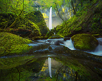 Majestic Elowah falls reflected in a small pool of water in early spring.<br />