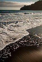 Waves come ashore at Stinson beach on the California Coast, Marin County, California