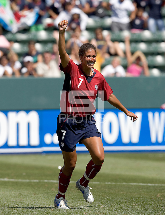 Shannon Boxx celebrates her goal. The USA defeated Iceland, 3-0, at the Home Depot Center in Carson, CA on July 24, 2005.