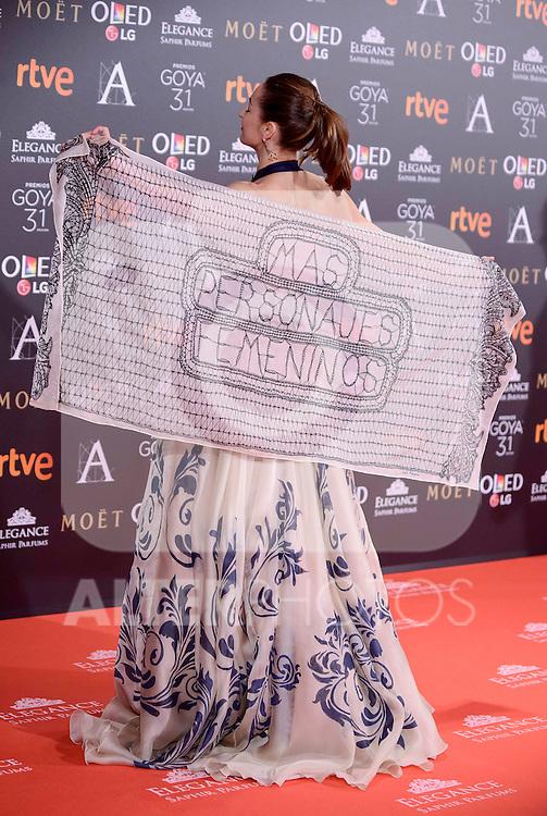 Cuca Escribano attends to the Red Carpet of the Goya Awards 2017 at Madrid Marriott Auditorium Hotel in Madrid, Spain. February 04, 2017. (ALTERPHOTOS/BorjaB.Hojas)