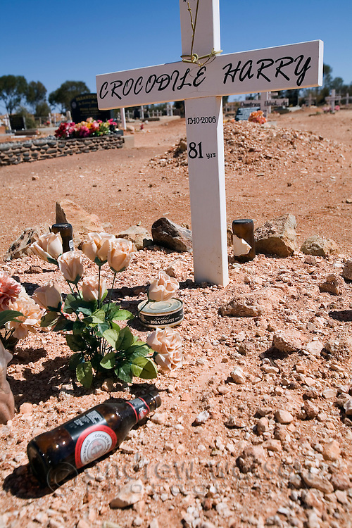 The grave of Crocodile Harry - an eccentric local and legend of Coober Pedy, South Australia, AUSTRALIA.