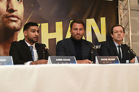 Amir Khan (L) speaks during a Press Conference at the Dorchester Hotel on 10th January 2018