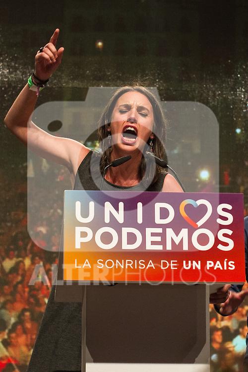 Spanish politician Irene Montera of Unidos Podemos party, after the results of the national elections at plaza Reina Sofia, Spain. 26,06,2016. (ALTERPHOTOS/Rodrigo Jimenez)