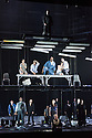 EMBARGOED UNTIL 7:30pm 11.04.15. London, UK. 09.04.2015. English National Opera presents the world premiere of Tansy Davies' BETWEEN WORLDS, at the Barbican. Picture shows: Andrew Watts (Shaman), Rhian Lois (Younger Woman), Phillip Rhodes (Older Man), Eric Greene (Janitor), Clare Presland (Realtor), William Morgan (younger Man), Susan Bickley (Mother).  Photograph © Jane Hobson.