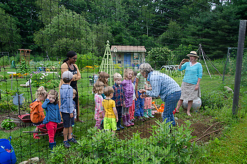Class in community Garden, Yarmouth Maine, USA