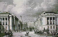 Waterloo Place, looking North. Regent St.  John Nash. Historical print.