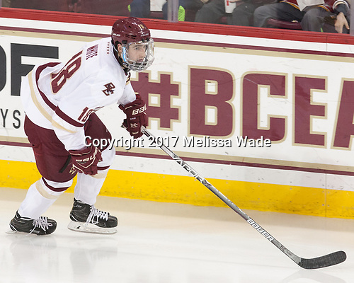 Colin White (BC - 18) - The visiting Merrimack College Warriors defeated the Boston College Eagles 6 - 3 (EN) on Friday, February 10, 2017, at Kelley Rink in Conte Forum in Chestnut Hill, Massachusetts.