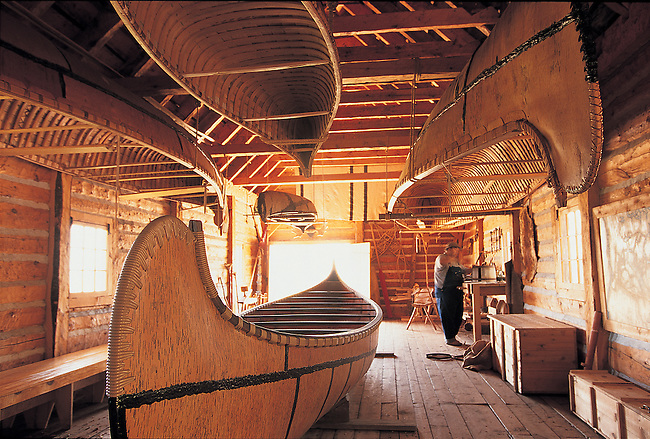 The canoe warehouse at Grand Portage National Monument in Minnesota.  Interpreters demonstrate the construction of canoes used by the Voyageurs.