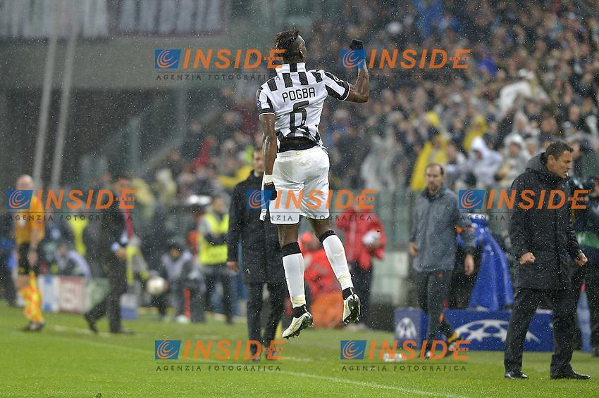 Esultanza Paul Pogba Juventus dopo gol, goal celebration,<br /> Torino 04-11-2014, Juventus Stadium, Football Calcio 2014/2015 Champions League, Juventus - Olympiacos, foto Filippo Alfero/Insidefoto