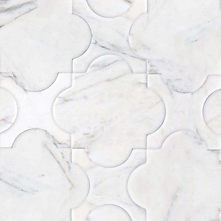 Mallorca Grande, a waterjet stone mosaic, shown in venetian honed Calacatta Tia.