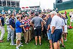 CROMWELL, CT. 19 June 2019-061919 - PGA Tour player and fan favorite Phil Mickelson is surrounded by the media as he holds a press conference just off the 18th hole after his round, during the Travelers Championship Pro-am day at the TPC River Highlands in Cromwell on Wednesday. Bill Shettle Republican-American