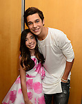 CORAL GABLES, FL - JULY 17:Austin Mahone (R) and Barbara Fernandez poses backstage during the Premios Juventud 2014 at The BankUnited Center on July 17, 2014 in Coral Gables, Florida.  (Photo by Johnny Louis/jlnphotography.com)