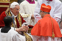 Spanish Santos Abril y Castello ,Pope Benedict XVI leads the Consistory where he will appoint 22 new cardinals on February 18, 2012 at St Peter's basilica at the Vatican.