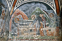 Entombment and the three Women at the Empty Tomb,wall-painting,crypt,AD 955,Osios Loukas Monastery,Greece
