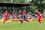 20.07.2019, Heinz-Dettmer-Stadion, Lohne, GER, Interwetten Cup, SV Werder Bremen vs 1. FC Koeln<br /> <br /> im Bild<br /> Torszene 1:0 in Entstehung, Joshua Sargent (Werder Bremen #19) setzt sich gegen Lasse Sobiech ( Koeln #03), Jonas Hector (Koeln #14) und Rafael Czichos (Neuzugang Koeln #05) durch, <br /> <br /> Foto © nordphoto / Ewert