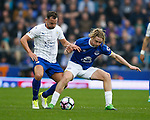 Daniel Drinkwater of Leicester City in action with Tom Davies of Everton during the English Premier League match at Goodison Park Stadium, Liverpool. Picture date: April 9th 2017. Pic credit should read: Simon Bellis/Sportimage