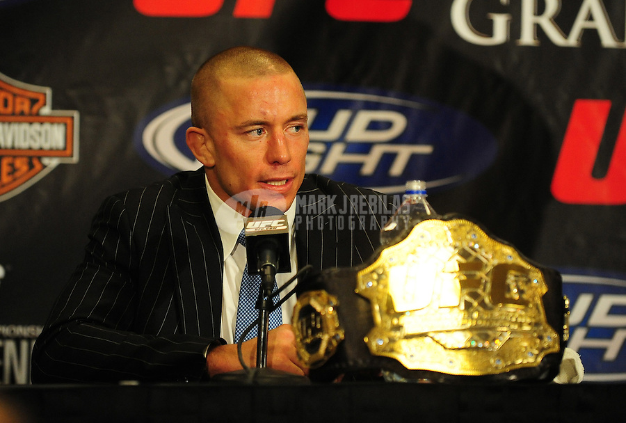 Jan. 31, 2009; Las Vegas, NV, USA; UFC fighter Georges St-Pierre during the post fight press conference after defeating B.J. Penn (not pictured) during the welterweight championship in UFC 94 at the MGM Grand Hotel and Casino. St-Pierre defeated Penn with a fourth round TKO. Mandatory Credit: Mark J. Rebilas-