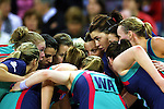 Vixens discuss tactics at the start of the second half of the Melbourne Vixens v  Northern Mystics, Final Round of the ANZ Championships at Hisense Arena 6-7-08.Photo: Grant Treeby