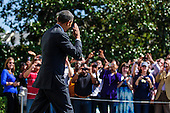 United States President Barack Obama waves to onlookers as he walks toward Marine One on the South Lawn of the White House in Washington, DC, USA on 22 September, 2012. The President is heading to Milwaukee, Wisconsin for a campaign event..Credit: Pete Marovich / Pool via CNP