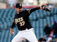 Salt Lake Bees Pitcher Matt Shoemaker #37 during a game vs. Tacoma Rainiers on April 26, 2011 at Spring Mobile Ballpark in Salt Lake City, Utah. Salt Lake Bees were defeated by Tacoma 8-4.  Photo By Matthew Sauk/Four Seam Images