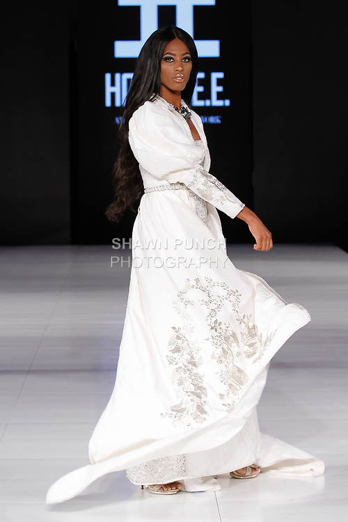 Model walks runway in an outfit from the HoudaEE collection by Houda El Fechka Eddiouane, during Society Fashion Week Spring Summer 2019 in New York City on September 7, 2018.