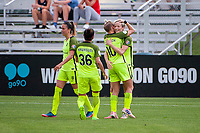 Kansas City, MO - Saturday June 17, 2017: Lauren Barnes, Nahomi Kawasumi, Jess Fishlock, Megan Rapinoe during a regular season National Women's Soccer League (NWSL) match between FC Kansas City and the Seattle Reign FC at Children's Mercy Victory Field.