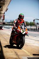 8th July 2020; Circuit de Barcelona Catalunya, Barcelona, Spain; FIM Superbike World Championship testing, Day One; Chaz Davies of the Aruba.it Racing Team rides the Ducati Panigale V4 R