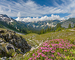 Mount Baker-Snoqualmie National Forest, WA<br /> Morning clouds over the peaks of the North Cascade range near Mount Baker