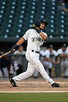 Third baseman Rigoberto Terrazas (9) of the Columbia Fireflies bats during a game against the Charleston RiverDogs on Wednesday, August 29, 2018, at Spirit Communications Park in Columbia, South Carolina. Charleston won, 6-1. (Tom Priddy/Four Seam Images)