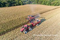 63801-12310 Harvesting corn and unloading into grain cart in fall-aerial  Marion Co. IL