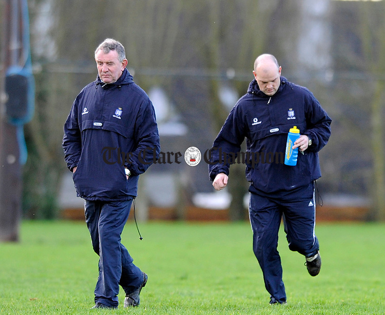 Clares manager Mike McNamara and selector Ollie Baker at Meelick.Pic Arthur Ellis.