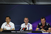 June 9th 2017, Montreal, Canada; Formula 1 Grand prix of Canada, Free practise day during the team management press conference;  Yusuke Hasegawa - Honda, Paddy Lowe - Williams, Jody Egginton - Toro Rosso