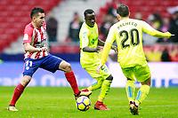 Atletico de Madrid's Angel Correa (l) and Getafe CF's Amath Ndiaye (c) and Dani Pacheco during La Liga match. January 6,2018. (ALTERPHOTOS/Acero) /NortePhoto.com NORTEPHOTOMEXICO