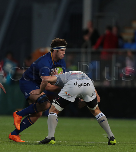 25th August 2017, Donnybrook Stadium, Dublin, Ireland; Pre Season Rugby Friendly; Leinster Rugby versus Bath Rugby; Caelan Doris (Leinster) runs in to a tackle from Paul Grant (Bath)