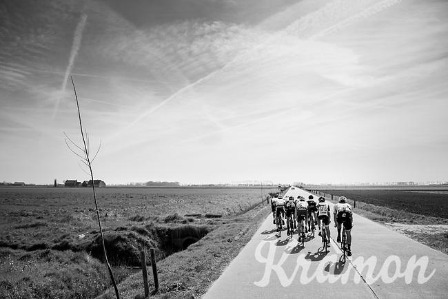 early breakaway group in the infamous (windy) Moeren<br /> <br /> 79th Gent-Wevelgem 2017 (1.UWT)<br /> 1day race: Deinze &rsaquo; Wevelgem - BEL (249km)
