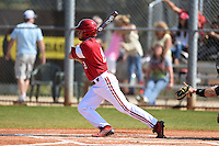 Indiana Hoosiers Casey Rodrigue (9) during a game against the St. Joseph's Hawks on March 7, 2015 at North Charlotte Regional Park in Port Charlotte, Florida.  Indiana defeated St. Joseph's 3-2.  (Mike Janes/Four Seam Images)