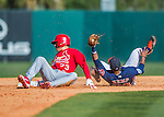 4 March 2016: St. Louis Cardinals infielder Aledmys Diaz is out at second trying to stretch a single into a double as Tony Kemp holds onto the ball during a Spring Training pre-season game against the Houston Astros at Osceola County Stadium in Kissimmee, Florida. The Cardinals fell to the Astros 6-3 in Grapefruit League play. Mandatory Credit: Ed Wolfstein Photo *** RAW (NEF) Image File Available ***