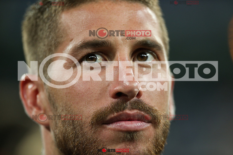 Real Madrid's Sergio Ramos during the XXXVII Bernabeu trophy between Real Madrid and Stade de Reims at the Santiago Bernabeu Stadium. August 15, 2016. (ALTERPHOTOS/Rodrigo Jimenez) /NORTEPHOTO